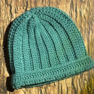Winter beanie hat sea foam green color handmade